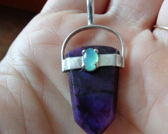 Translucent Gel Sugilite and polished Jade Sterling silver pendant