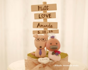 platypus and dog Wedding Cake Topper