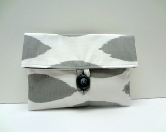 READY TO SHIP Storm Gray Ikat Clutch Makeup Bag Gray and White Bridesmaid Gift