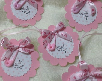 Pink Thank You Tags - Blue Thank You Tags - Baby Girl Shower Thank You Tags - Shower Thank You Tags -  Set Of 12 -  ***FREE SHIPPING***