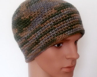 Men's crochet Hat Winter Hat Ski Hat from Merino Wool in Camouflage