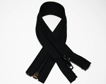 Zip closure, 35 cm, black, detachable