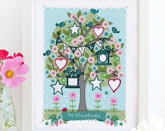 Personalised 'Spring Family Tree' Illustration Print - Nursery Print - Nursery Art - Gift For New Baby - Wall Art