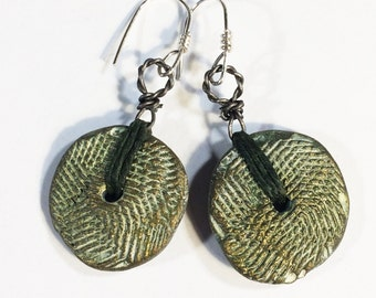 Stamped Clay Earrings, Polymer Clay Earrings - Free Domestic Shipping