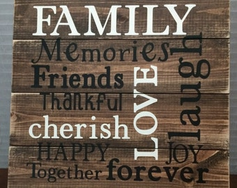 Family Sign Cherish Love Word Sign Housewarming Gift Wall Sign Wall Decor Rustic Sign