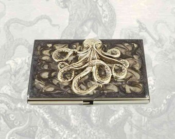 Octopus Business Card Case Inlaid in Hand Painted Enamel Smokey Swirl Design Steampunk Kraken Custom Colors and Personalized Options