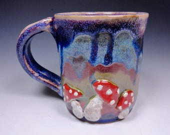 Amanita Mushroom Handmade Pottery Mug Ceramic Stoneware Cascades of Color Glazing