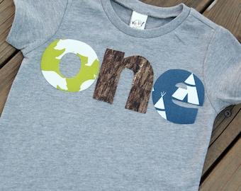 Nature First Birthday Shirt, Camping First Birthday Shirt, Bear First Birthday Shirt, Tepee Birthday Shirt