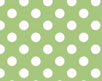 Riley Blake Medium Dot, White on Green,  fabric by the yard