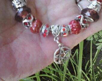 Pagan Wiccan Fire elemental, Euro style bracelet