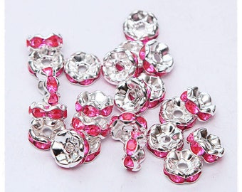 10-pcs-Pearl rondelle spacer 8 mm silver-plated rhinestone Pink 8mm