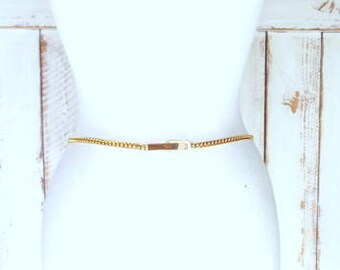 Vintage skinny gold metal link chain belt/gold metal chain belt