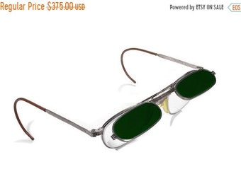 Steampunk Goggles Vintage Rare FENDALL Steam Punk Aviator Glasses with Dark GREEN FLIP-Up 1/2 Glasses, Burning Man Goggles - by edmdesigns