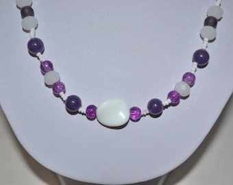 Necklace Amethyst purple and white