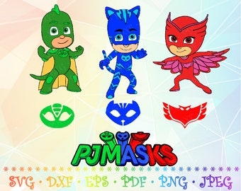 SVG DXF PJ Masks Characters Logo Emblems Layered Cut Files Cricut Design Silhouette Studio ScanNCut Vinyl Decal Tshirt Iron Birthday Party