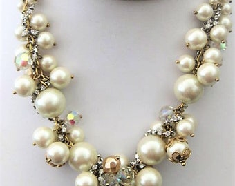 Vintage Jewelry ~  Necklace Carolee  Beaded  Glass Beads  Faux Pearls  Rhinestones  Chunky  Rare!