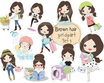 Brown hair girl clipart set 3  ,girl stickers clipart instant download PNG file - 300 dpi