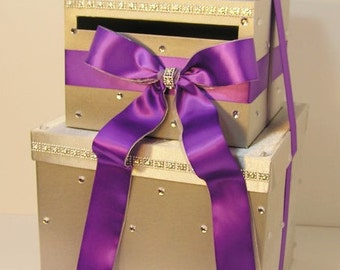 Wedding Card Box LARGE Size  2 Tier Silver and Bright Purple Gift Card Box Money Box  Holder--Customize your color (LARGE SIZE)