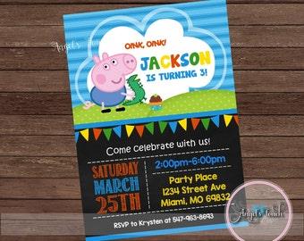 George Pig Party Invitation, George Pig Birthday Invitation, Peppa Pig and George Birthday Party Invitation, George Pig Party, Digital File