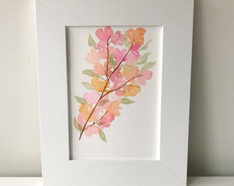 Flowers Watercolor, Spring Painting, Original Watercolor, Floral, Watercolor, Original Artwork, Handmade Art, Cherry Blossoms