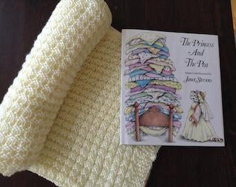 Hand Knit Baby Blanket in Vanilla