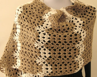 Tan and cream stole, ripple pattern, wool and rayon