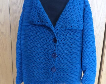 Teal Woman's Sweater Jacket; Teal Sweater; Teal Cardigan; Extra Large Teal Sweater; Crochet Sweater; Crochet Jacket; Teal Jacket