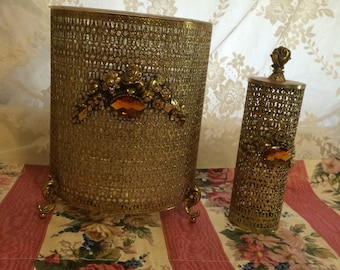 Mid Century Brass Ormalu Wastebasket and Hairspray Holder With Amber Rhinestones