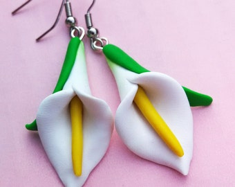 Calla Lily Earrings - Handmade in Polymer Clay