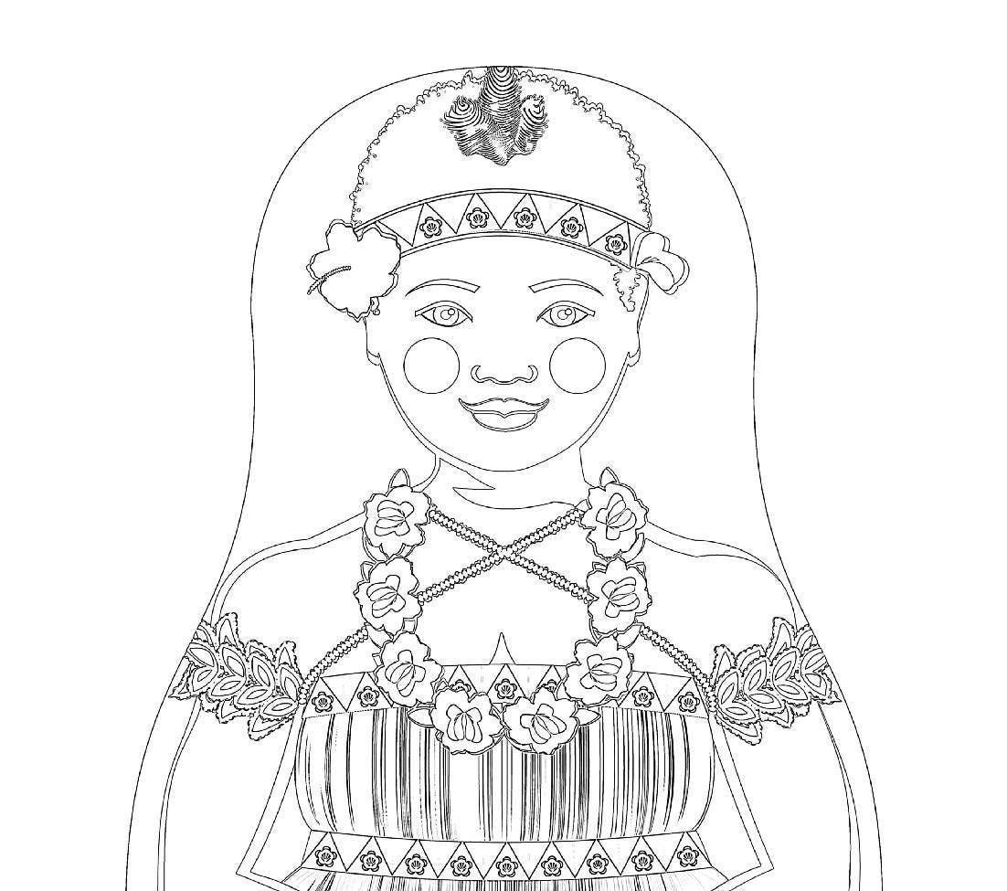 bougainvillean matryoshka coloring sheet printable file