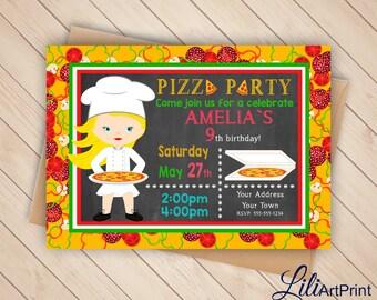 Pizza Party Birthday Invitation, Pizza Invite, Pizza Party Birthday Party, Digital file (7)