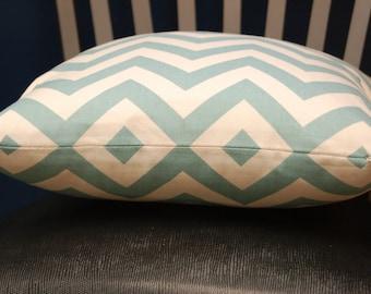 16 inch Blue Natural Chevron Print Throw Pillow Cover, Geometric Pillow, Modern Decorative Pillow
