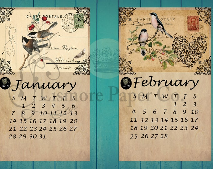 2018 Vintage Bird Calendar, Vintage Paper Calendar, Calendar making, Nature Calendar, Journal Calendar, Planner Calendar, 2018 Calendar, 4x6