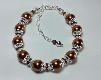Copper Pearl Bridesmaid Bracelet