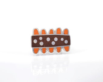 Sterling Silver Ring, Modern Ring, Statement Ring, Contemporary Ring, Chocolate and Orange, Modern, Adjustable