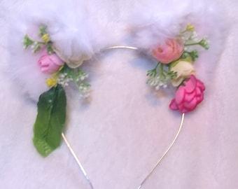 White Spring Floral Kitten/Cat Ears Flower Crown