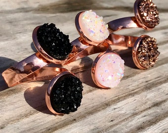 12mm Handmade Double Druzy Adjustable / Expandable Ring on Rose Gold / Gift, Swag Ideas