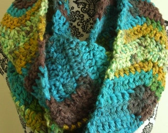 Crochet Infinity Scarf in Teal & Brown - Crochet Chevron Loop