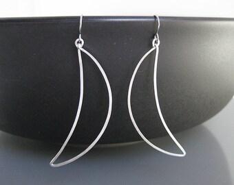 Silver Minimalist Earrings - modern minimal delicate hoop, long geometric earrings, lightweight jewelry - Crescent Moon