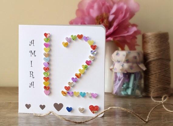 12th birthday card age 12 card handmade personalised like this item bookmarktalkfo Images