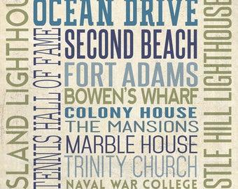 Newport, Rhode Island - Typography - Lantern Press Artwork (Art Print - Multiple Sizes Available)