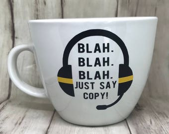 Thin Gold Line Dispatcher Ceramic Mug | 911 Dispatcher | Dispatcher Mug | Emergency Dispatcher | Dispatch