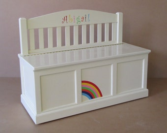 Wooden Toy Chest-Bench-Antique White-Rainbow