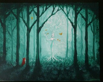 The Fox in the Forest Original Acrylic Painting
