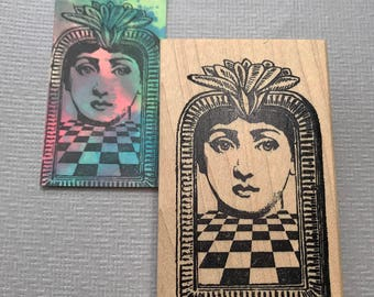 Checkerboard Flower Queen Rubber Stamp, Wood Mounted, Unmounted, Cling Rubber Stamp
