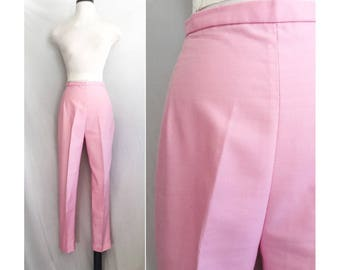 1960s Pink Cigarette Pants // 60s baby pink pencil pants // High Waist Slim Fit Pencil Pants by Pykettes // Light Pink Trousers Sz Small