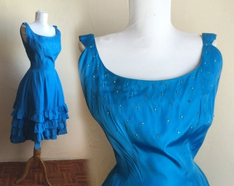 Vintage Emma Domb Rhinestone Electric Blue Cocktail Dress