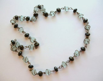 Wire Wrapped Recycled Glass and Stone Necklace