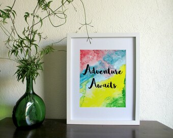 Adventure Awaits | Wall Quote | Digital Art | Downloadable Print | Printable Art | Watercolour Quote | Calligraphy Print | Typography Quote