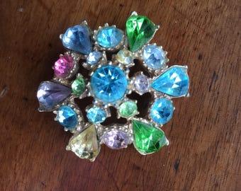 Vintage Dimensional Multi Rhinestone Flower Pin